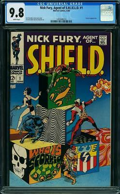 Nick Fury #1 CGC 9.8 1968 Agent of Shield! Avengers! White Pages! G11 110 cm