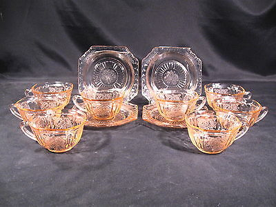 "Anchor Hocking Mayfair ""Open Rose"" Pink Cups (8) Saucers (4) Total Group 12"
