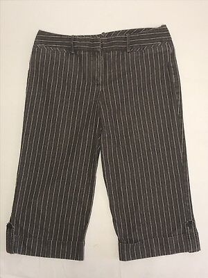 Womens Larry Levine Brown Stripped Capri pants viscose spandex polyester size 12