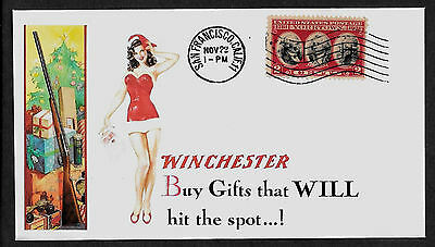 1935 Winchester & Sexy Lady Featured on Xmas Collector's Envelope *A210