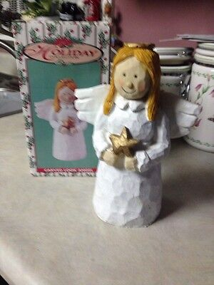"""Vintage World  Bazaars Holiday Collection Resin Carved Look Angel 10"""" tall"""