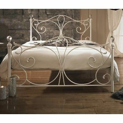 Antique French Metal Bed Frame Victorian Style White 4ft Double Size Vintage New