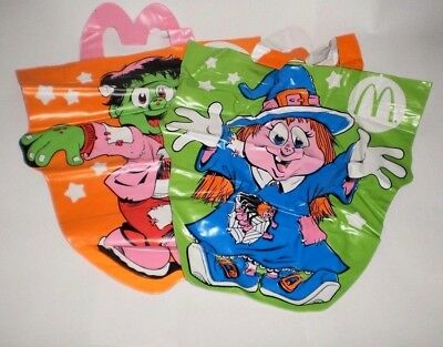 1991 MC DONALD'S HAPPY MEAL Vinyl HALLOWEEN McBoo Bags Set of 2