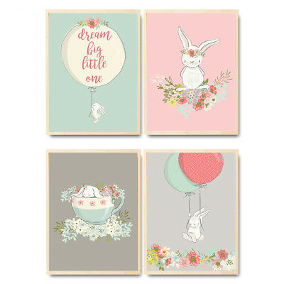 Rabbit Flower Animal Canvas Poster Nursery Art Print Baby Bedroom Decoration