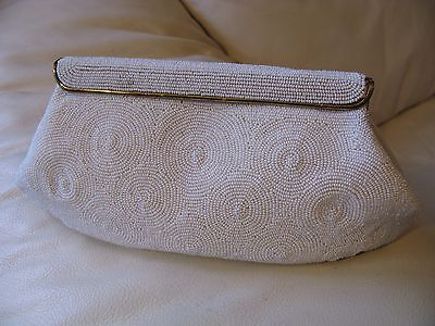 Vintage Gold Tone Frame White Circle Hand MAde Bead Clutch Purse BELGIUM DELILL