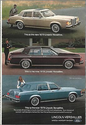 1979 LINCOLN VERSAILLES advertisement, Lincoln ad, 3 different Versailles photos