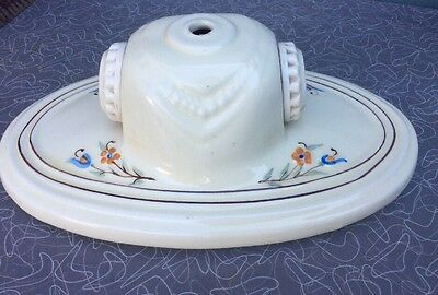 Antique Porcelier porcelain double bulb white floral ceiling/wall light fixture