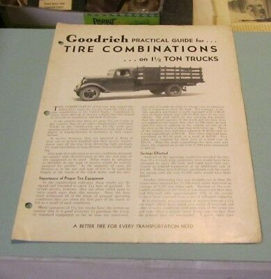 1935 Goodrich Practical Guide for Tire Combinations on 1.5 Ton Trucks 8pg