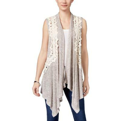 Style & Co. 1224 Womens Crochet-Trim Draped Front Marled Casual Vest Top BHFO