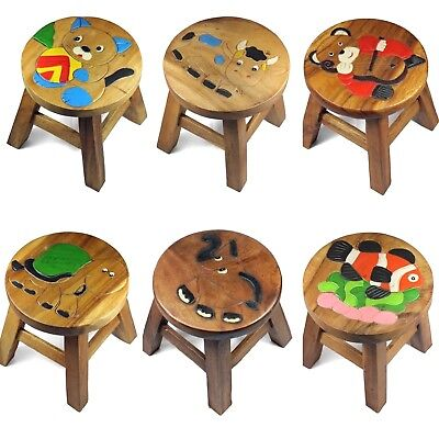 Kids Childs Childrens Wooden Stool Chair  - ANIMALS Step Stool