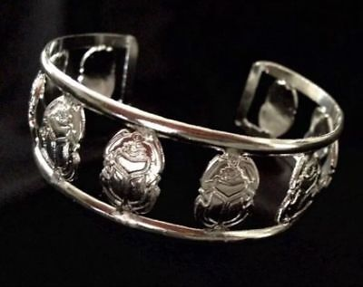 Ancient Egyptian Cuff Bracelet Sacred Pharaoh Scarab Silver plated Hand made