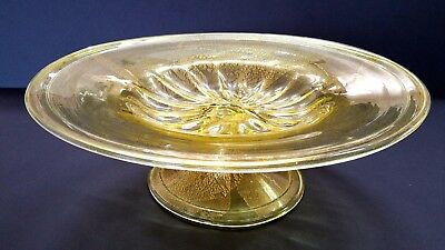 Antique Extra Large Venetian Glass Compote Gold Leaf Overlay C.1910-14
