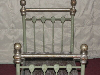 Antique doll Cast Iron, Iron and Brass bed salesman sample Vintage