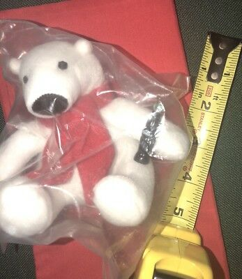 Coca Cola Polar Bear 5 in. Plush Holding a Coke Bottle Red Scarf BEANIE OFFICIAL