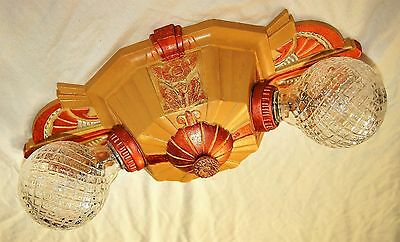 Vtg Deco Era Victorian Cast Metal Flush Mount Lincoln Chandelier Ceiling Fixture