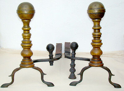 ANTIQUE Vintage BRASS FIREPLACE ANDIRONS / MASSIVE Cannonball Finial