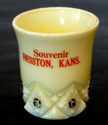 1890's ANTIQUE Vintage HESSTON KANSAS Custard Glass EAPG Souvenir TOOTHPICK