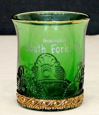 1890's Antique SOUTH FORK PENNSYLVANIA Cambria EAPG Green Glass SOUVENIR TUMBLER