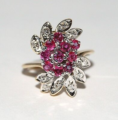Fine Estate Ruby & Diamond Cluster Fashion 14k Yellow Gold Cocktail Ring Sz 4.25
