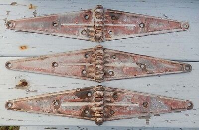 """PAIR Vintage Wrought Iron Strap Hinges 3"""" x 16"""""""