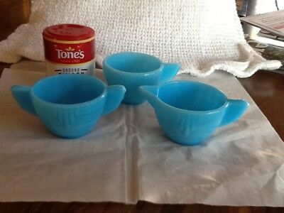 Toy Akro agate matching blue creamer, sugar & cup. Child's play dishes. Fr Ship