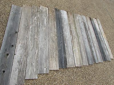 """48"""" Weathered Barn Wood    8 Fence Boards    Reclaimed Old Wood Board Planks"""