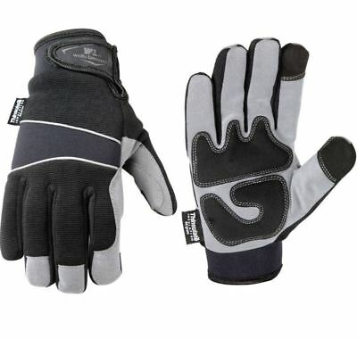 Mens Hi-Dexterity Thinsulate Synthetic Leather Palm Winter Work Gloves  Lg