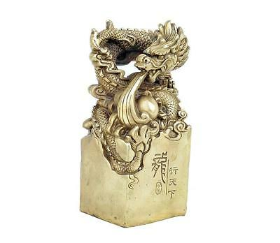 Chinese Bronze Gilt Dragon Beast Statue Dynasty Imperial Seal Stamp Signet