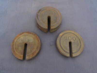 Vintage Set of Slotted Platform Scale Weights Round 200 and 400