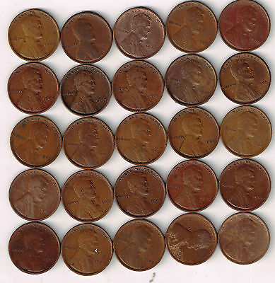 Half Roll(25 coins) collection of VF or better Lincoln Wheat Cents. 1909-P.