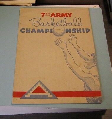 1946 US 7th Army in Occupied Germany Basketball Tournament Program Roster Photos