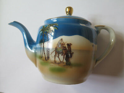 RARE NORITAKE CHINA TEAPOT CAMEL & PALM TREES DESERT SCENE c1920s BLUE COLOURS