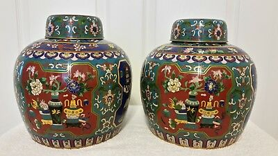 Beautiful antique matched pair of Chinese covered cloisonné ginger jars