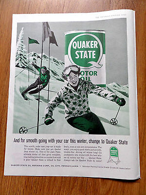 1959 Quaker State Motor Oil Ad Winter Skiing Theme