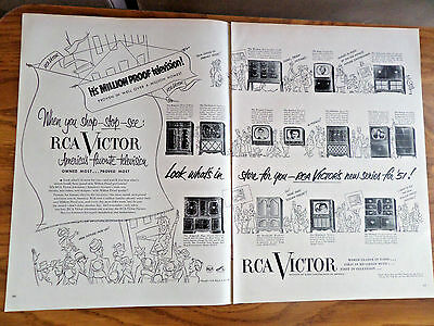 1951 RCA Victor TV Ad  Million Proof Televisions Shows 14 Models