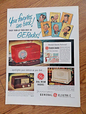 1951 GE General Electric Radios Ad  Your Favorites Movie Singing Stars are Back