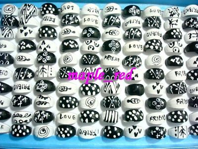 Wholesale jewelry 50pcs mixed White & Black Fashion Resin Rings for Children RG2