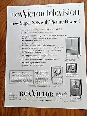 1951 RCA Victor TV Television Ad Shows 4 Models
