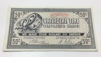 1962 Canadian Tire Fifty 50 Cents CTC-7-J-U Paper Money Bonus Banknote C928