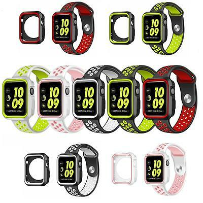 NEW Sport Watch Band Silicone Strap + Watch Case Cover for Apple Watch Series 3