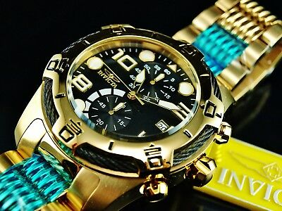 NEW Invicta Men's 50mm Bolt Chronograph Black Dial 18K GP Stainless Steel Watch