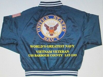 Uss Barbour County Lst-1195*vietnam*navy Anchor Embroidered 2-Sided Satin Jacket