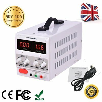 30V 10A DC Power Supply Precision Variable Digital Adjustable Clip Cable UK