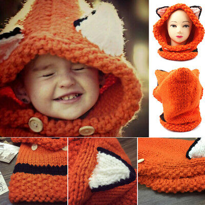 Winter Warm Wool Fox Kid Hat Cap Coif Hood Scarf Toddler Boy Girl Baby Kids Cute