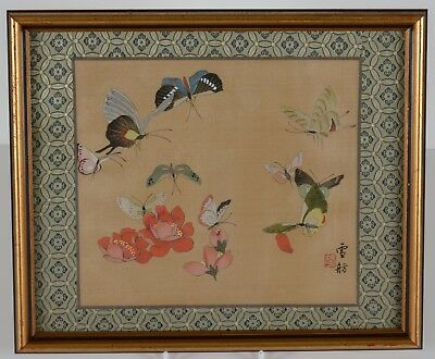 Vintage Chinese Watercolor Painting On Silk Butterflies Red Flowers Signed