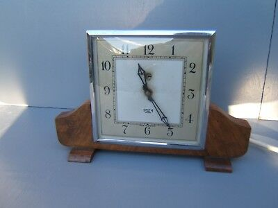 "Smiths vintage electric mantel clock art-deco slim 6.25"" x 9.5"""