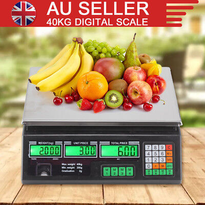 40KG Kitchen Scale Digital Commercial Shop Electronic Weight Scales Food Black