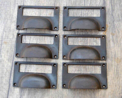 6pcs Vintage Victorian Cast Iron Cabinet drawer Bin Pull Numbered Cup handle 4""