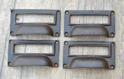 4pcs Vintage Victorian Cast Iron Cabinet drawer Bin Pull Numbered Cup handle 3""