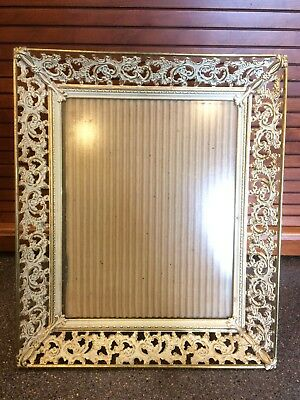 Vintage Metal Filigree Picture Frame Photo Gold Colored 8x10 White